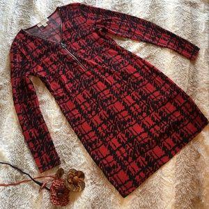 MICHAEL Kors Red Black Long Sleeve Zipper Dress M